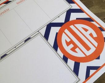 Chevron patterned custom padded weekly planner