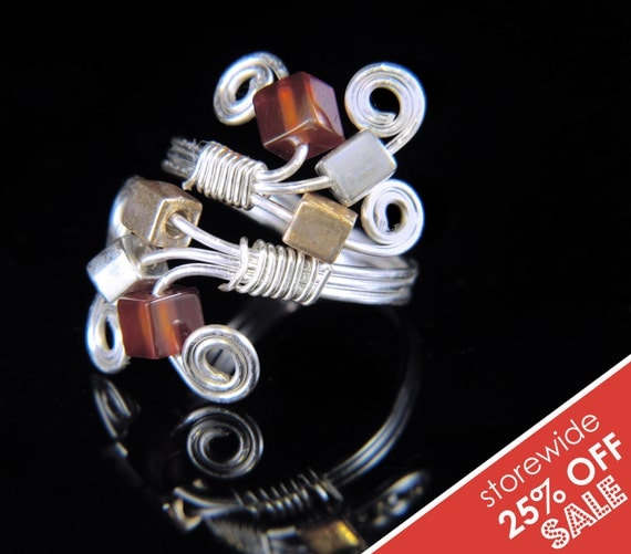 OOAK Adjustable Silver Spiral Gold and Carnelian Gemstone Wire Wrapped Ring Sale