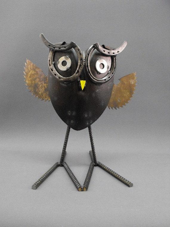 Folk art found object metal owl