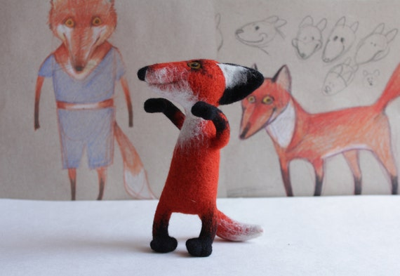 Pup Ronald, the felted fox Made to order