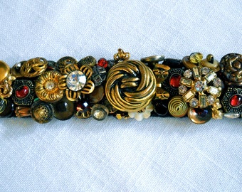 Sassy Brassy and Ruby Too  Vintage Button Bracelet