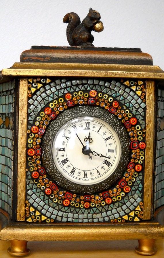 Woodland Squirrel Mosaic Clock