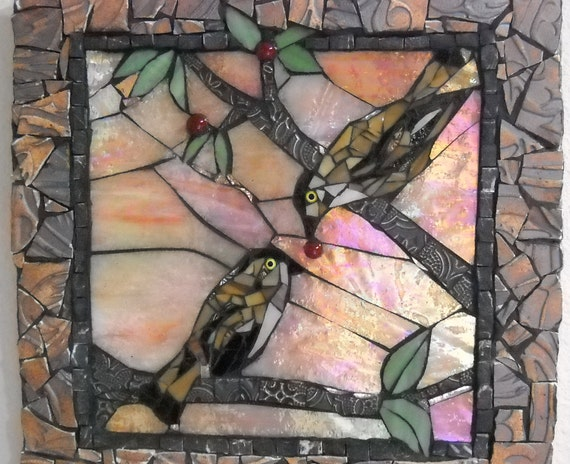 Birds with Berry Mosaic Art