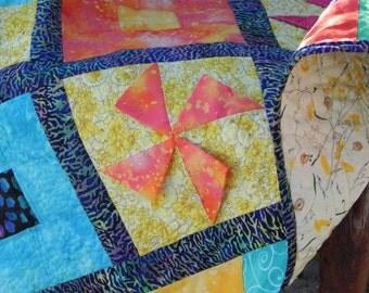 3-D Pinwheels Baby Quilt