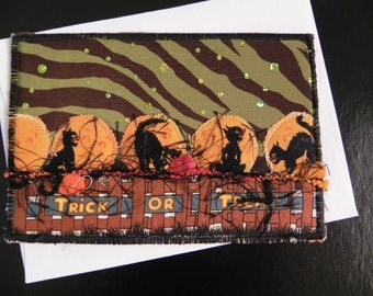 Trick or Treat Cats on a FenceQuilted Postcard