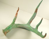 Copper Green Patina Deer Antler Art Sculpture