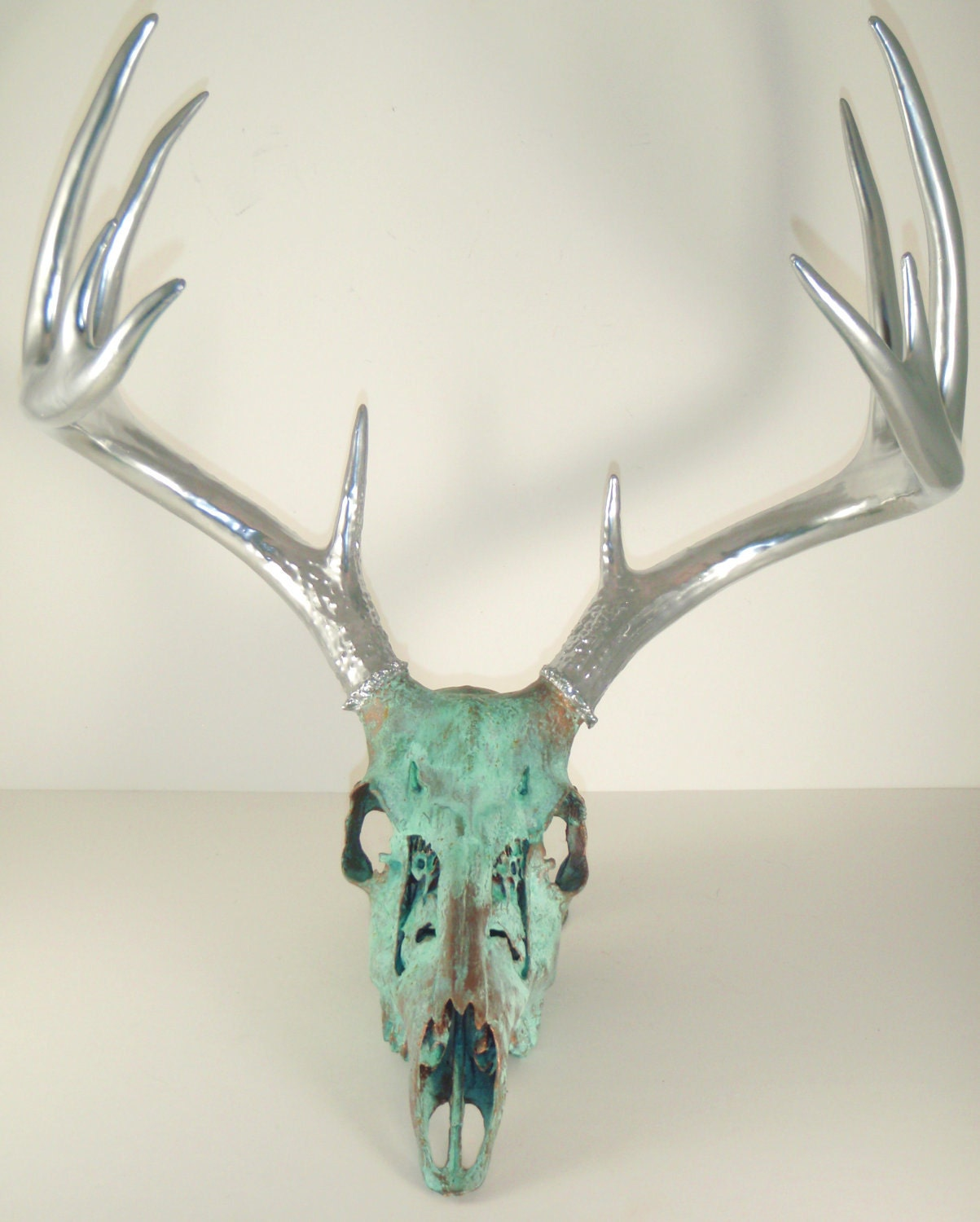 Copper Aged With Green Patina And Chrome Deer Skull Art