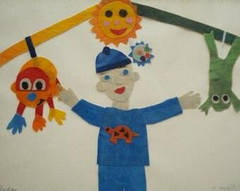 Batik Fabric Collage Custom Art Playtime Gift for Nursery