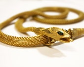 SALE: RARE 1940s Art deco Snake Necklace with Emerald Green Eyes - demi parure