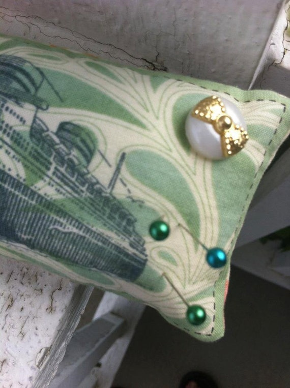 SUPER SALE- Shabby Chic Pin Cushion with button decoration and rolled rosette- Filled with Bamboo & Organic Flax Seed