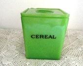 Vintage Jadeite/Jadite Jeannette 48 ounce Floral Covered Canister