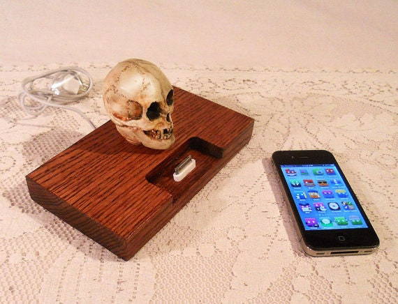 SKULL iPhone - iPod Dock -Charger and Sync Station - Oak - - Scary - Handmade Skull Limited Edition