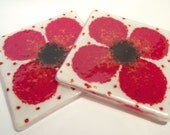 A Pair of Poppy Fused Glass Coasters