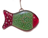 Small Fused Glass Fish, Christmas Ornament