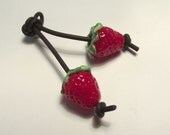 Lampwork Glass Strawberry Beads. Pair of small strawberry beads