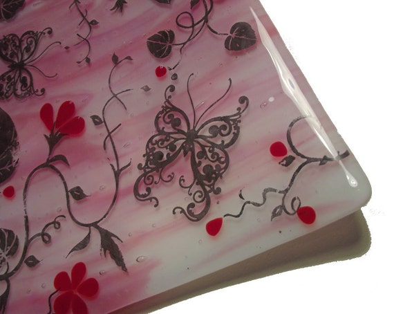 Fused Glass Square Bowl, Butterfly and Floral Design