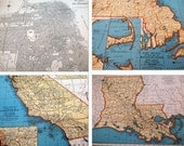 Vintage State Maps and San Francisco City Map, 1939 Atlas: California, New Jersey, Minnesota, Maine, Louisiana and More