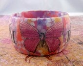 Decoupage Butterfly Bangle: Spring Origami Hippie Chic Wood Bangle (Small)