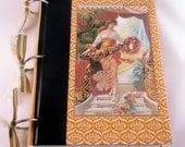 Altered Art Journal with Reader's Digest Book Covers: Orange Art Nouveau Vintage Ephemera Notebook