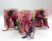 Decoupage Votive Candle Holder Set: Lush Black and Plum Floral Design with 1923 Jewelry Catalog Pages