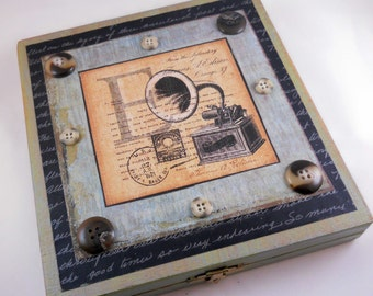 Mixed Media Cigar Box // Reclaimed and Hand Painted // Phonograph and Buttons // Collage Wood Box // Upcycled // Handmade Gift