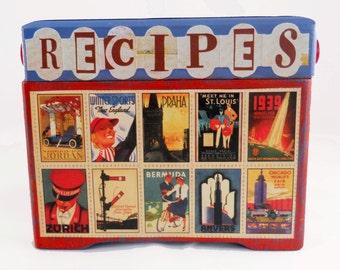 Altered Recipe Box// Colorful Retro Travel Poster Collage // Reclaimed // Hand-Painted // Kitchen Decor// Red and Blue// Handmade Gift
