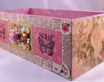 Shabby Chic Wood Drawer//Altered Wood Box // Vintage Floral Pink Collage Box // Cottage Decor // Reclaimed //Mason Jar Holder// Gift for Her