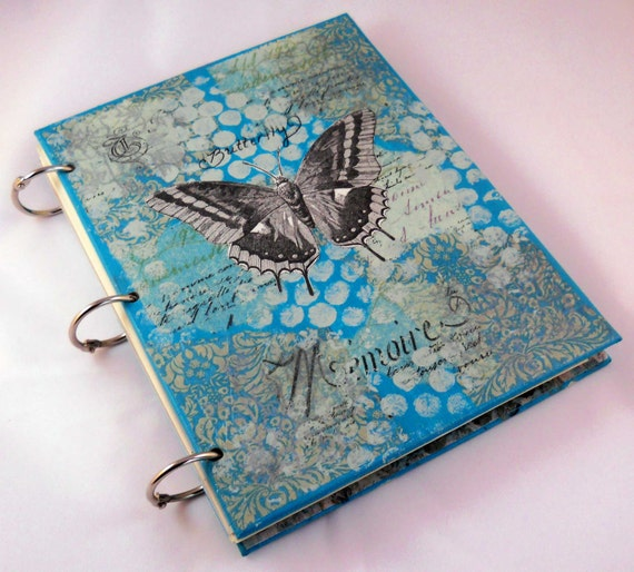 Mixed Media Journal // Art Blank Notebook or Sketchbook //Butterfly, Moth and Birds // Aqua, Polka Dots and Poetry  // 6x8 inches// Handmade