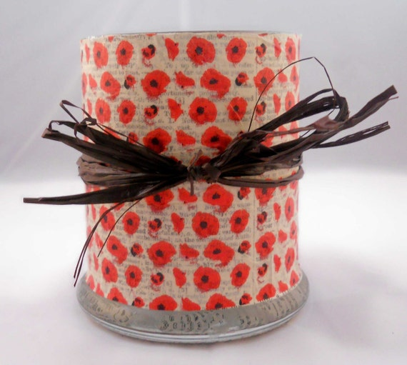 Large Decoupage Candle Holder: Red Poppies and Vintage Dictionary Pages with Raffia Bow