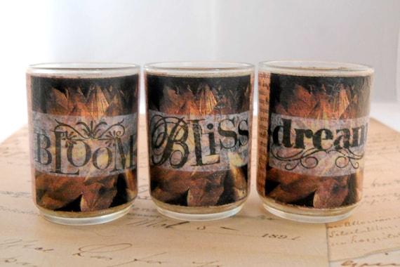 Decoupage Candle Holders // Votive or Tea Light // Romantic Rose French Script //Bloom Bliss Dream/ Handmade Gift // Set of 3