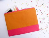 XLARGE zipper pouch 10 x 8 inch geometry color block caramel and hot pink