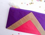 "zipper pouch 4""X8""  geometry  pencil case purple pink camel"