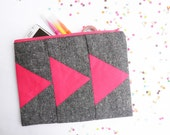 Neon Geometric XLARGE zipper pouch 10 x 8 inch triangle in tweed and hot pink