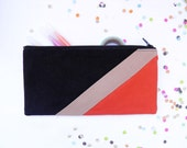 """zipper pouch 4""""X8""""  geometry  pencil case in black camel and paprika"""