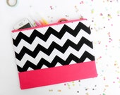 Neon Chevron XLARGE zipper pouch 10 x 8 inch geometry black and white and hot pink