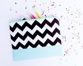 Brown chevrons XLARGE zipper pouch 10 x 8 inch geometry color block in iced blue