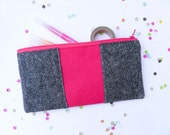 """back to school Neon zipper pouch 4""""X8""""  geometry  pencil case in tweed and hot pink"""