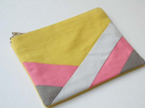 "Small zipper pouch 4,7""X6"" geometry color block yellow coral camel"