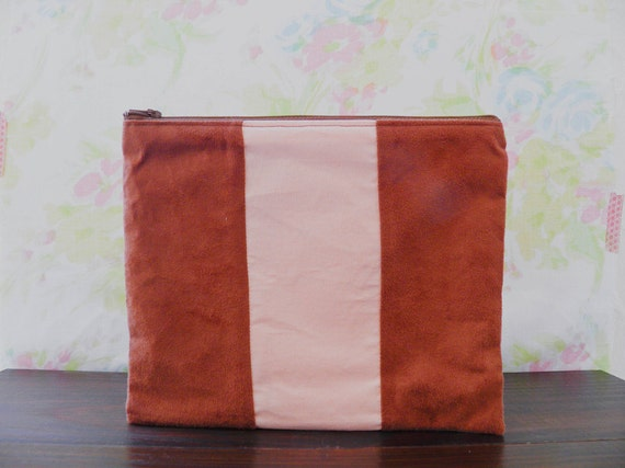 XLARGE zipper pouch 10 x 8 inch geometry color block faux suedine  caramel peach