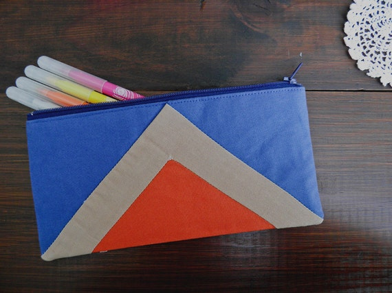"""zipper pouch 4""""X8""""  geometry  pencil case in navy blue camel and paprika"""