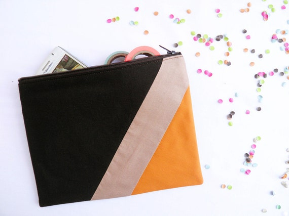 "Large zipper pouch 6""X8""  geometric color block in brown apricot"