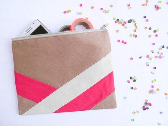 "Large zipper pouch 6""X8""  geometry color block camel beige hot pink"