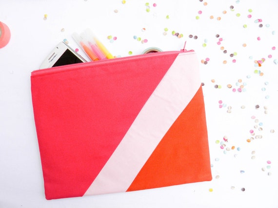 XLARGE zipper pouch 10 x 8 inch geometry color block hot pink paprika