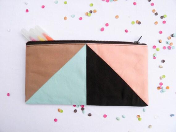 """zipper pouch 4""""X8""""  geometry  pencil case in camel blue brown peach"""