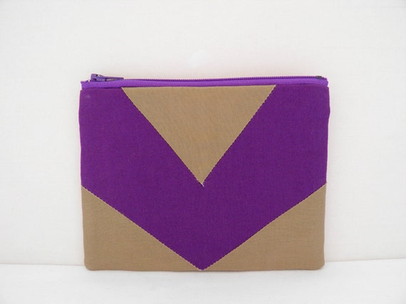"Small zipper pouch 4,7""X6"" geometry color block purple camel"