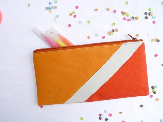 """back to school zipper pouch 4""""X8""""  geometry  pencil case caramel beige paprika"""
