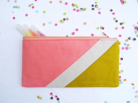 "zipper pouch 4""X8""  geometry  pencil case in coral beige and mustard"