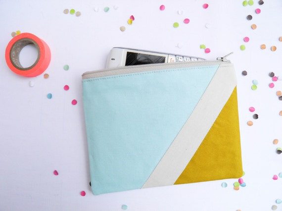 "Small zipper pouch 4,7""X6"" geometry color block in mint mustard"