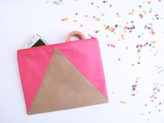 "Neon Large zipper pouch 6""X8""  geometry color block camel beige hot pink"