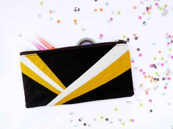 "Neon zipper pouch 4""X8""  geometry  pencil case in dark brown and mustard"